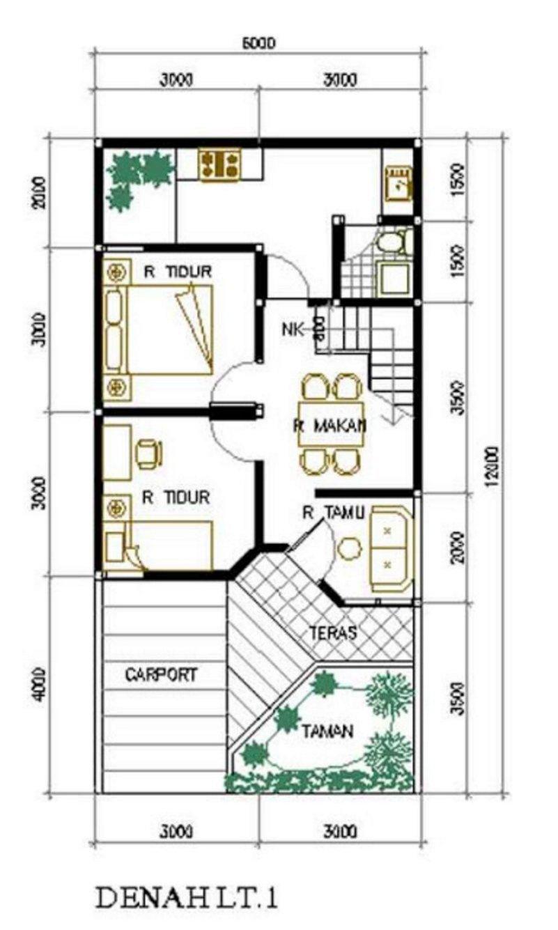 denah rumah ukuran 6x12 m2 yang kreatif