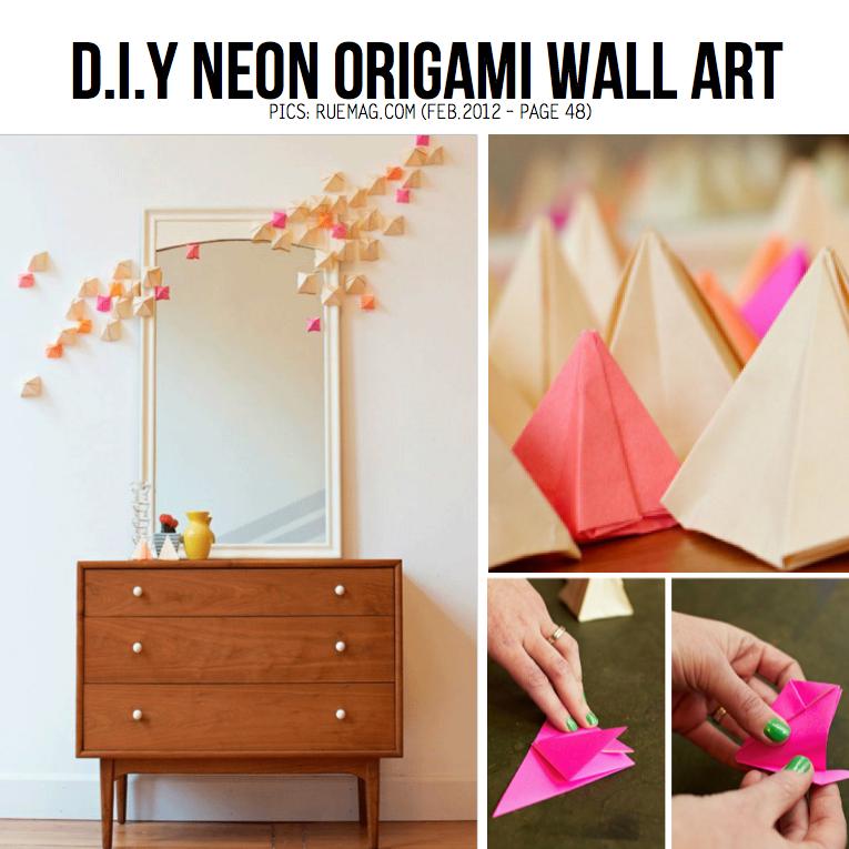 Down Two Earth Xox Diy Neon Origami Wall Art