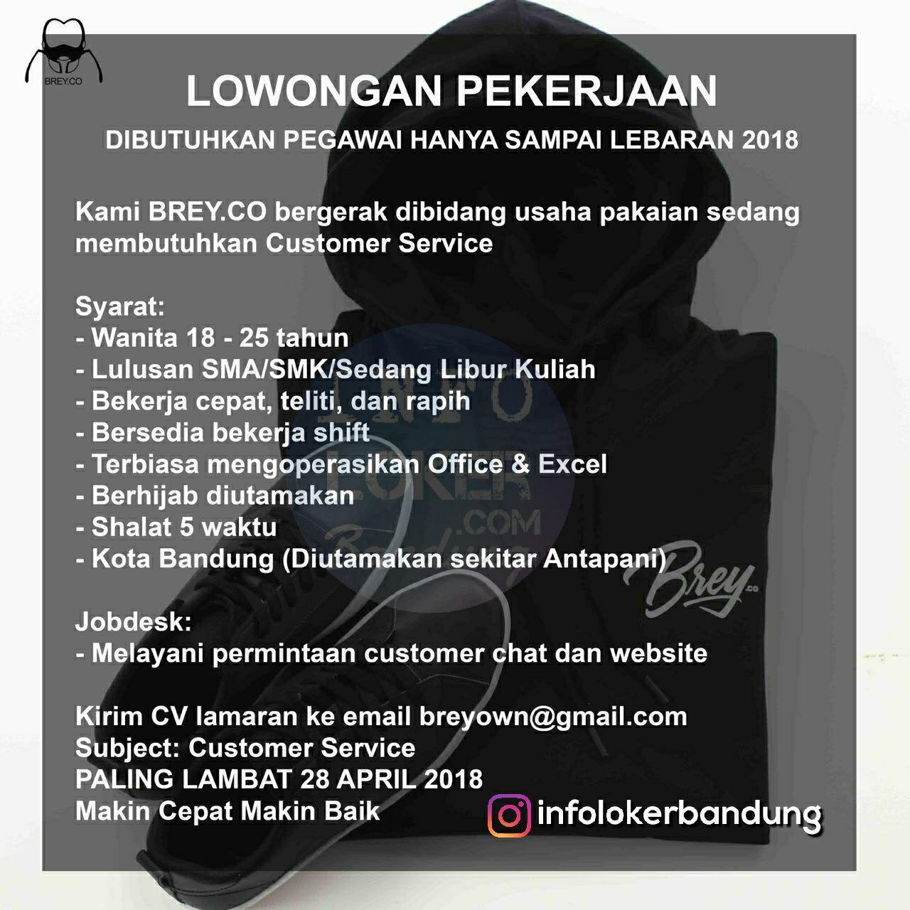 Lowongan Kerja Brey.Co Bandung April 2018