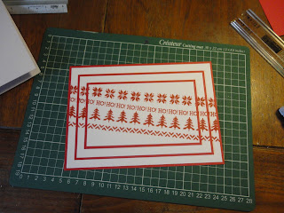 Red and white triple stamped knitting design