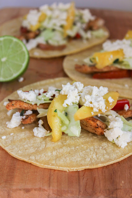 Caribbean Chicken Tacos with Mango Slaw | The Chef Next Door