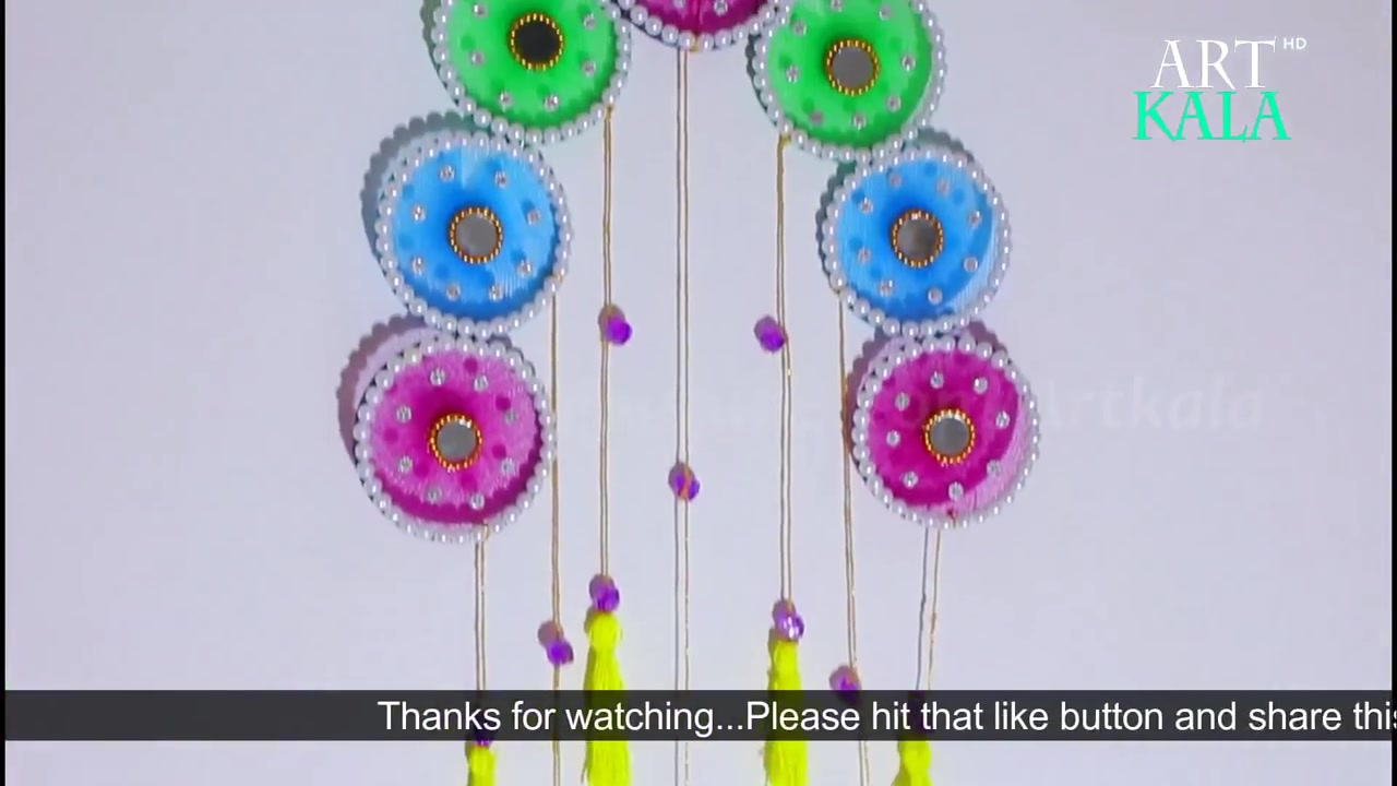 Wall hanging decor from old waste bangles crazzy craft for Craft using waste bangles