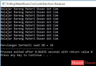 Contoh Program dengan Break C++