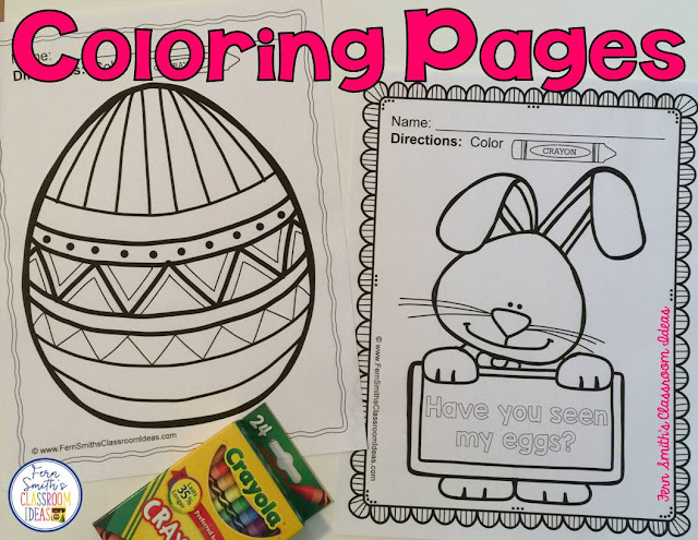 Looking for some fun for Spring? How about Easter? Seventy-Four Color For Fun Printable Coloring Pages....bunnies, eggs, umbrellas, children, all sorts of Easter and Spring Fun for your students! #FernSmithsClassroomIdeas
