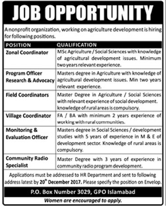 Jobs In Non Profit Organization Islamabad Dec 2017