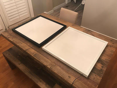 The black Wall Mounted Flat Frame Light Box (left) to be mounted in Gamma Observatory   at SkyPi Online Observatories where the ATEO resides. Photo by Dustin Smith.