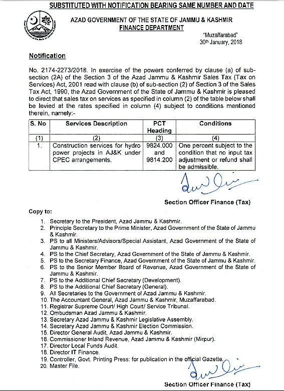 NOTIFICATION REGARDING LEVIED SALES TAX ON SPECIFIED SERVICES