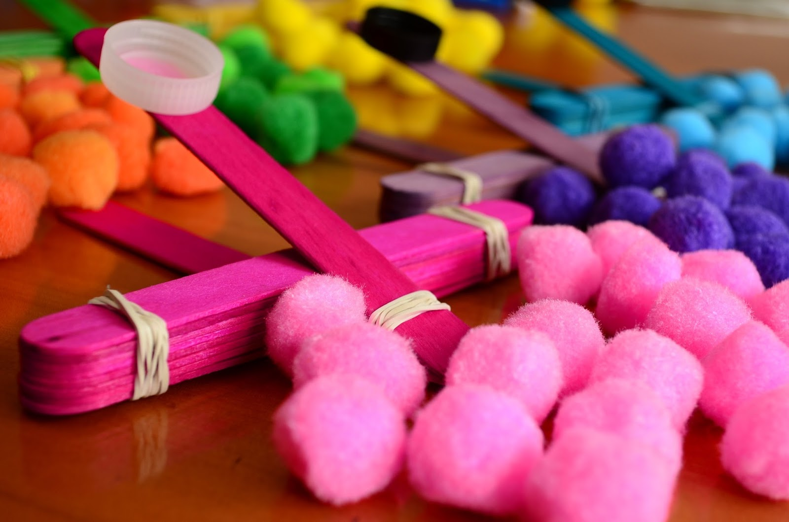 The Practical Mom: DIY Party Favors (with Pom Pom Catapult)