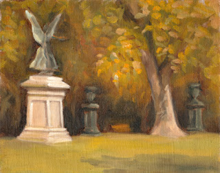 Oil painting of a winged Victory statue on a plinth beside a plane tree and decorative urns.