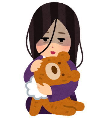 人形を抱く心に闇を抱えた人のイラスト