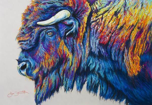 12-American-Bison-Large-Scale-Soft-Pastel-Drawings-Of-Wild-Ainimals-www-designstack-co