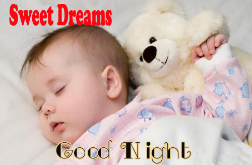 Good Night Baby Image with Teddy Bear