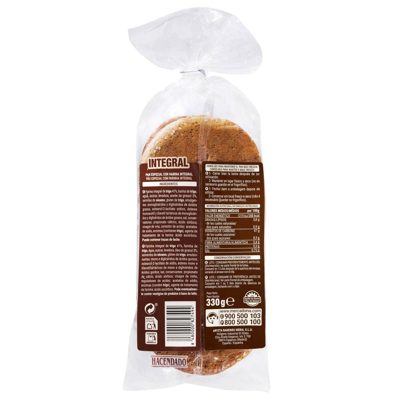 Pan de hamburguesa integral Hacendado