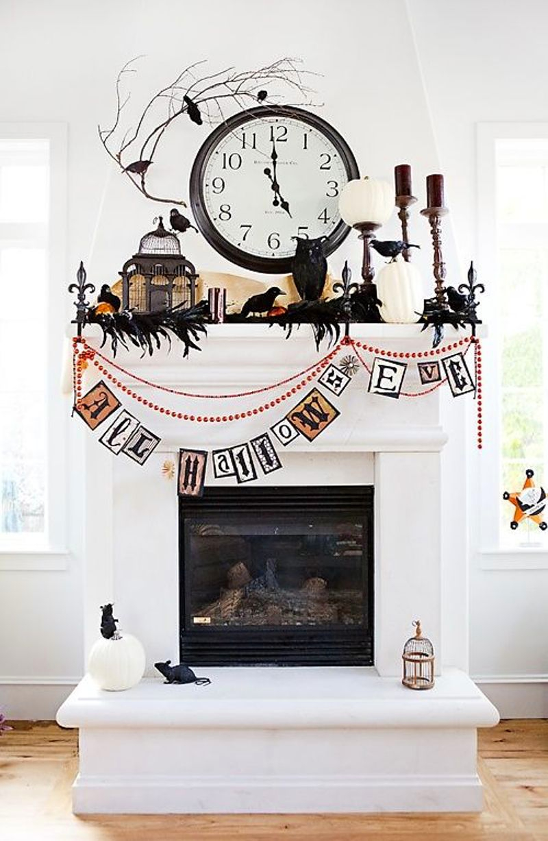 Spooktacular Shelfies | 7 Ways to Dress Up Your Mantle for Halloween - via BirdsParty.com