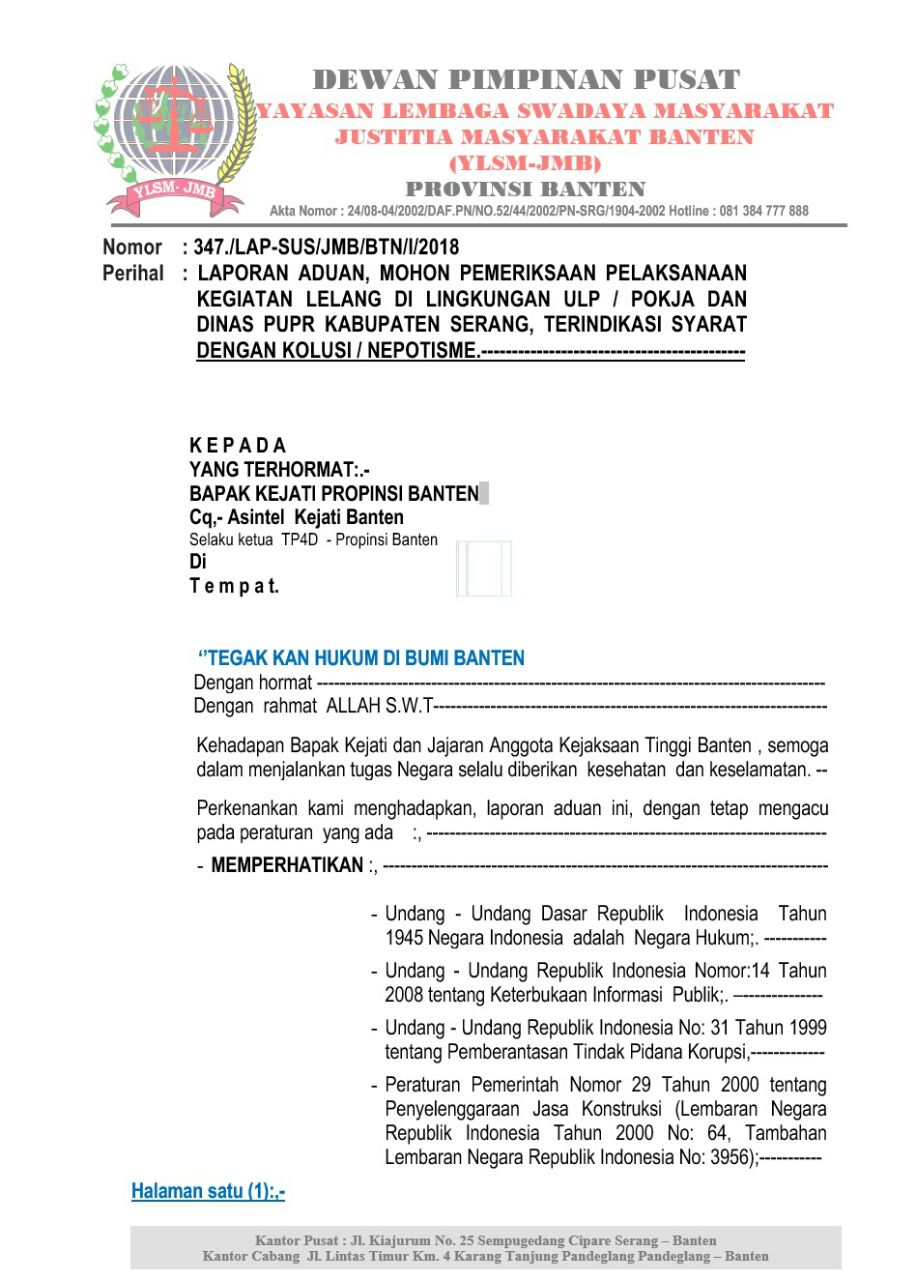 TP4D Banten Diminta Segera Periksa Pokja ULP Kabupaten Serang Diduga
