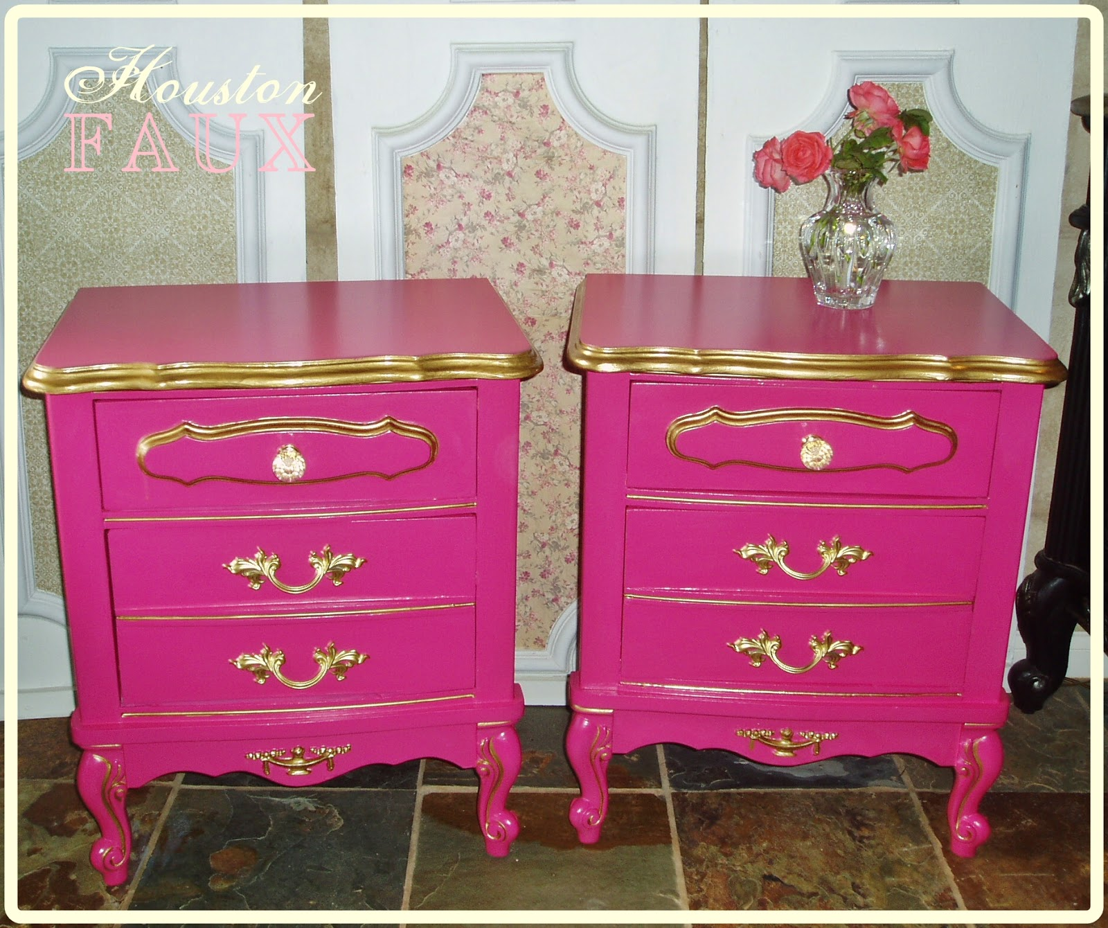 Hand Painted In Highlights Of Brushed Gold Vintage French Provincial With Original Hardware On Bottom Drawers New Crystal S Have Replaced The
