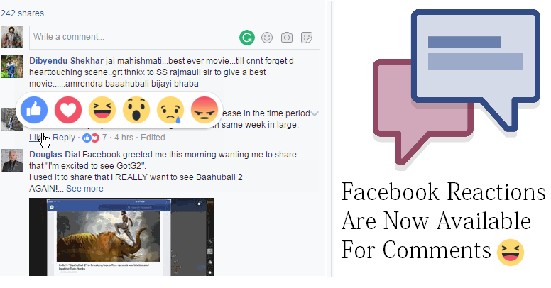 Facebook Reactions Are Now Available For Comments