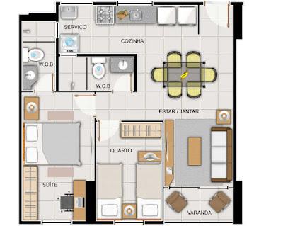 divisão de ária privativa do apartamento