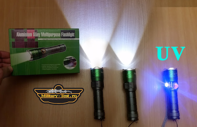 lanterna puternica led cree zoom flashlight test review unboxing