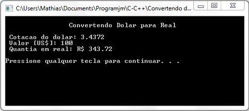 Convertendo Dólar Para Real Em C