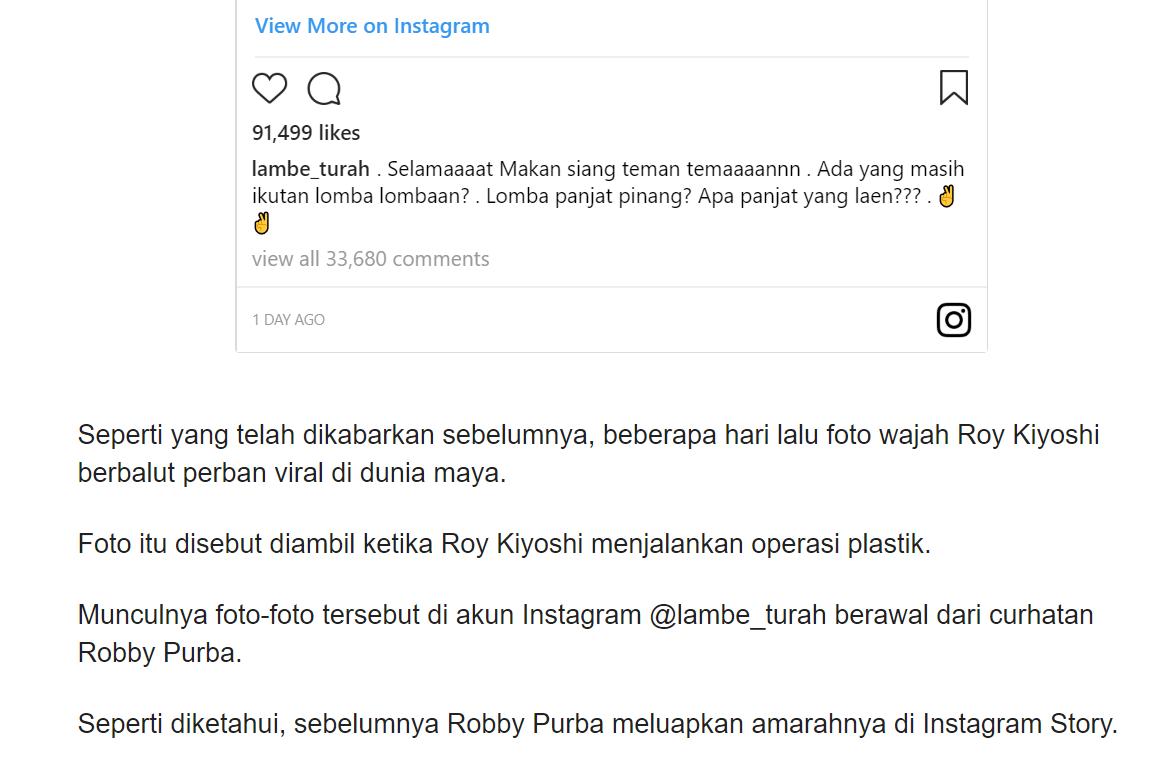 Muka Roy Kiyoshi Jadi Aneh Kena Karma Hot And Viral Gossip