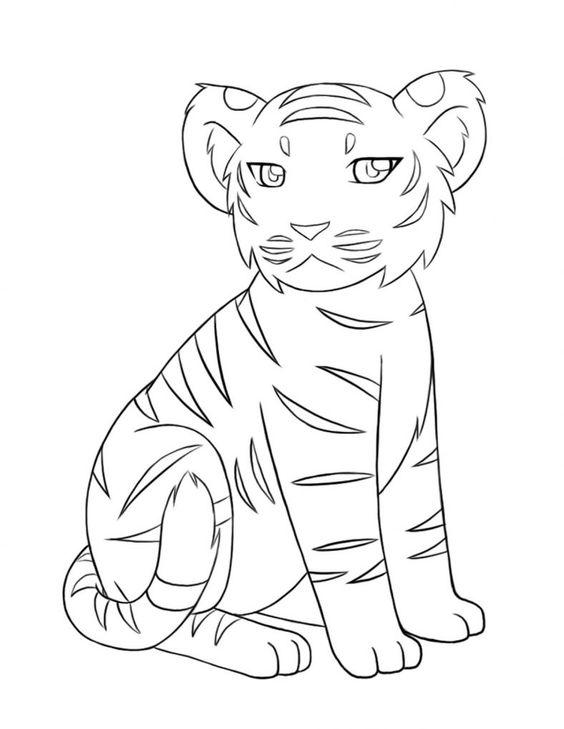 Tranh tô màu con hổ ngồi nghiêng đẹp