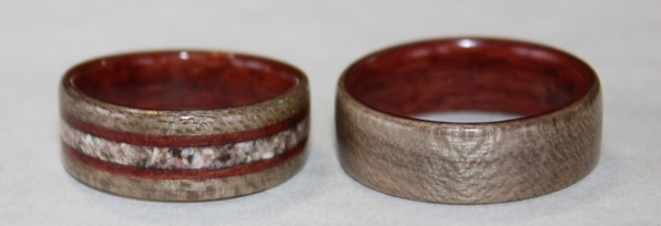 Greyed Maple and Australian Red Gum Rings with Thomsonite Stone inlay