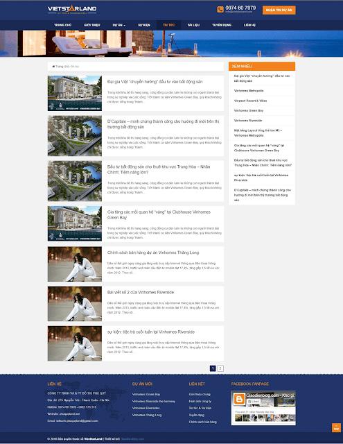 Template blogspot bất động sản Vietstarland - Giaodienblog.com