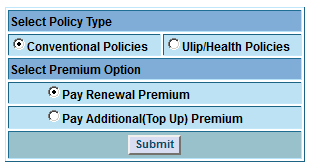 LIC policy type pay renewal premium and pay additional top up premium
