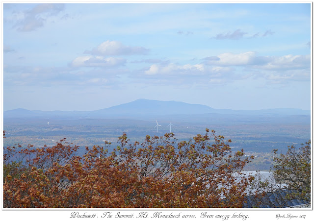 Wachusett: The Summit. Mt. Monadnock across. Green energy lurking.