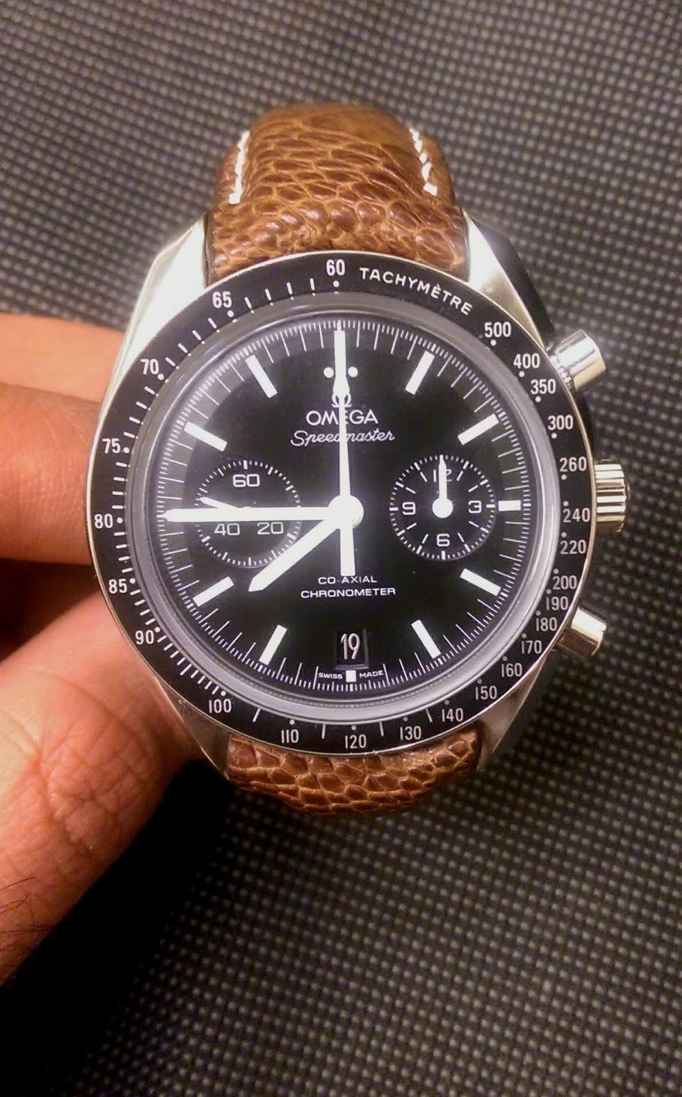 Mirza's Great looking Omega Speedmaster on Vintage Tan Ostrich Leg strap with 'TCLS'