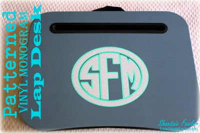 SRM Stickers Blog - Petterned Vinyl Monogram by Shantaie - #vinyl #patternedvinyl #gift #lapdesk #DIY