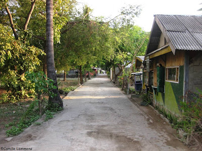Gili Air in Indonesia, the main road, leading to the harbor