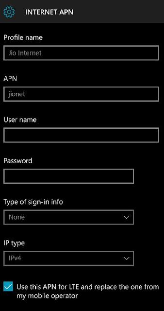 Jio APN Settings for Nokia Lumia Windows Phones