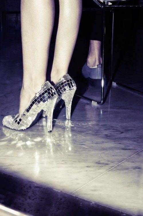 Mirror disco ball party shoes