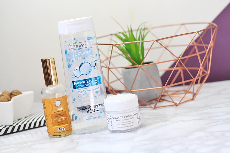 Bielenda, Expert czystej skóry, Nawilżający płyn micelarny 3 w 1 & Khadi, Ayurvedic Face & Body Oil Anti - Aging - Ajurwedyjski olejek przeciwzmarszczkowy & Fitomed, Maseczka - peeling K+K