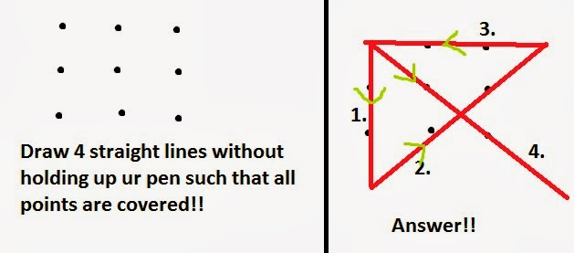 Your challenge is to draw four straight lines which go through the middle of all of the dots without taking the pencil off the paper. Nripesh Rajbhandari Draw 4 Straight Lines Covering All Points
