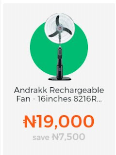 Andrakk Rechargeable Fan - 16 inches