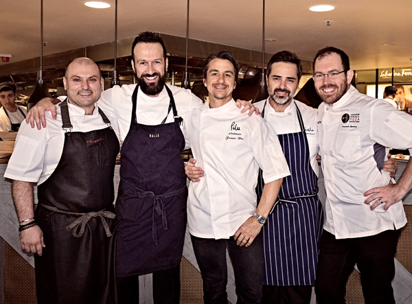 Oro Rosso Luncheon's Italian Chefs, Danny Russo, Gabriele Taddeucci, Giovanni Pilu, Eugenio Maiale, Francesco Spataro. Photographed by Kent Johnson.
