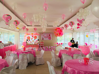 Pink hot air balloon themed party