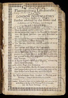 "title page of ""Pharmacopoeia Londinensis"" from 1654"
