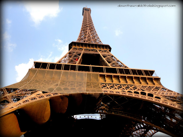 view of Eiffel Tower from below, Paris France