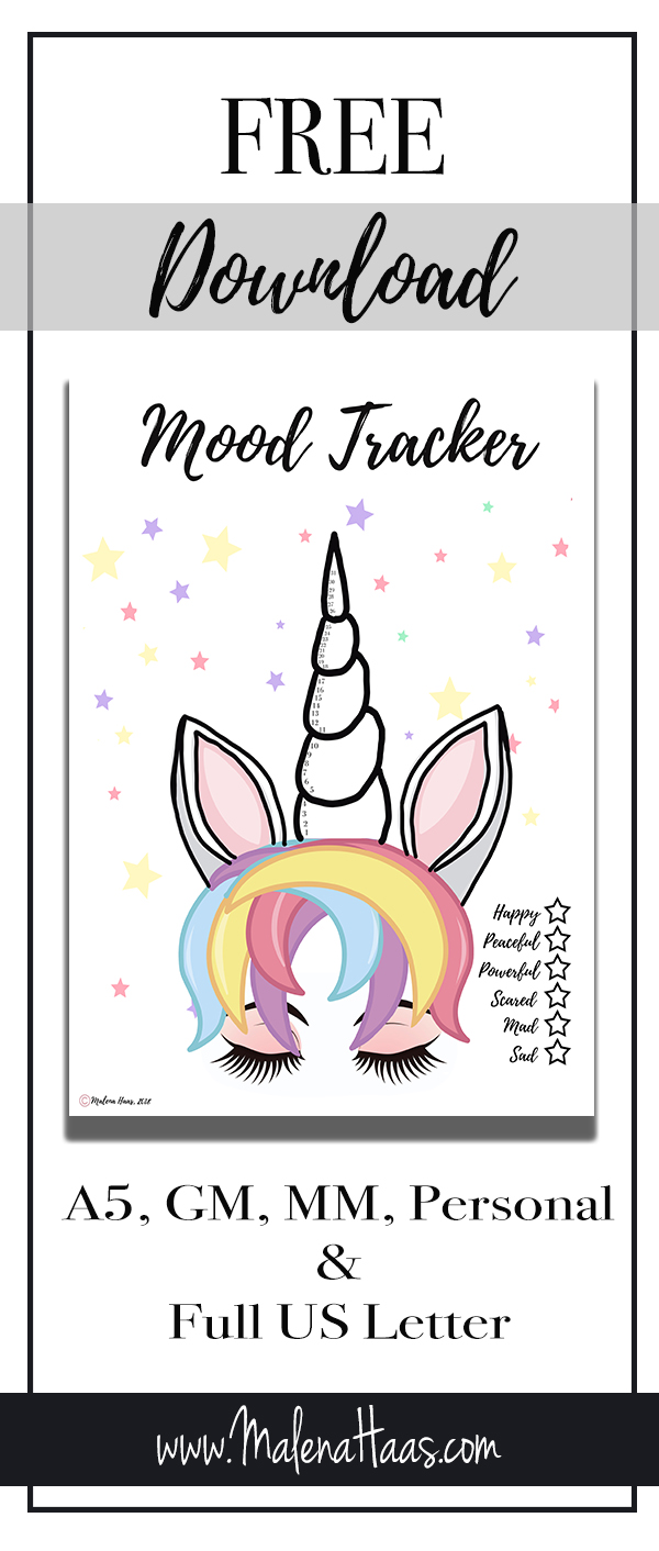 Printable Download of Colorful Mood Tracker, with moods: Happy, Peaceful, Powerful, Sad, Mad, Angry http://www.malenahaas.com/2018/05/freebie-friday-unicorn-mood-tracker-a5.html