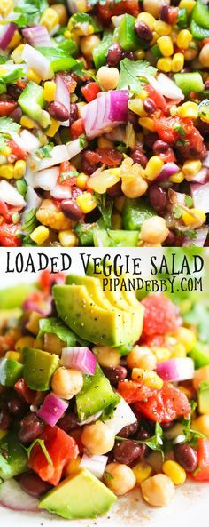This versatile Loaded Veggie Salad is EASY to make and is packed with healthy ingredients, such as chickpeas, black beans, tomatoes and avocados. This salad is a delicious lunch, wrap filling, party side or even a topping for chicken!
