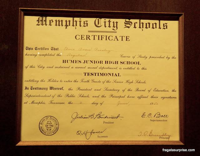 Certificado de conclusão do ensino médio de Elvis Presley