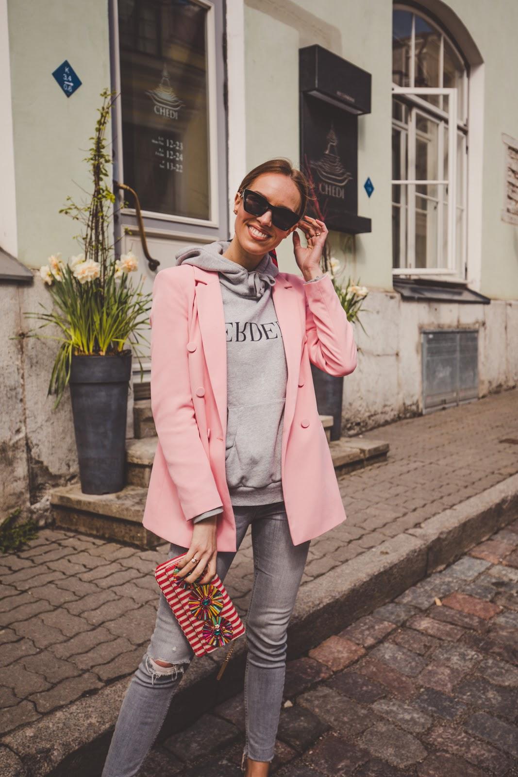 pink blazer grey erdem hoodie outfit