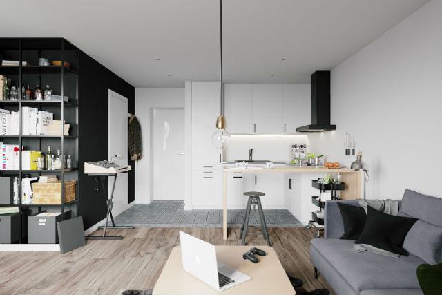 decorar un apartamento low cost con estilo, salón y cocina