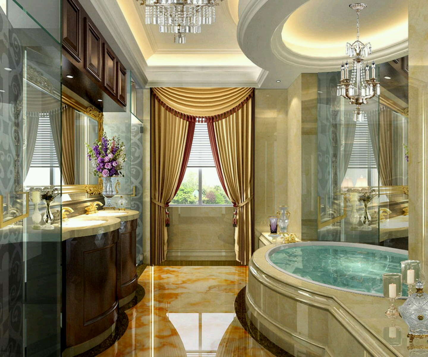 Luxury Modern Bathrooms Designs Decoration Ideas.