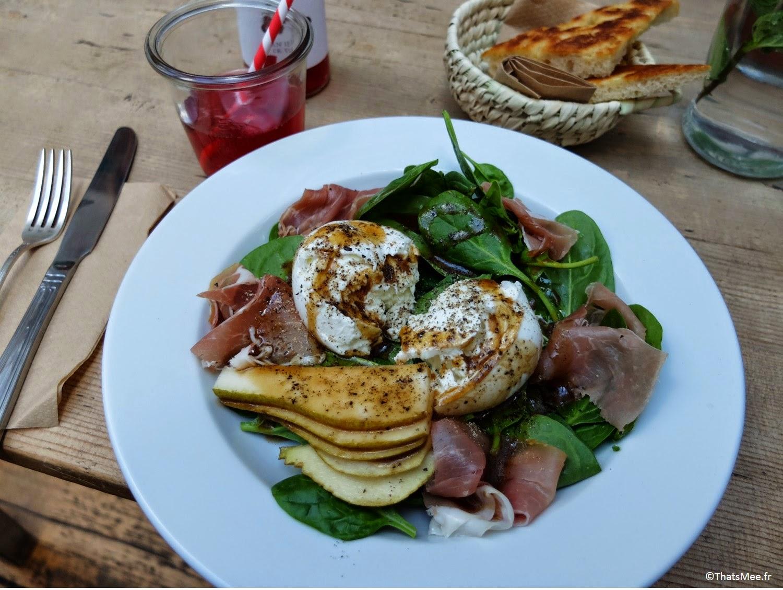 salade épinards mozza poire Maison d'Etre coffee shop Islingthon & Highbury hipster must place-to-be Kim