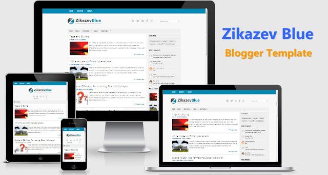 Zikazev Blue Responsive Blogger Template Premium Free